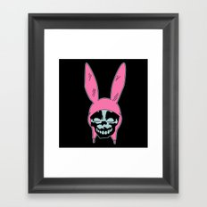 Grey Rabbit/Pink Ears Framed Art Print