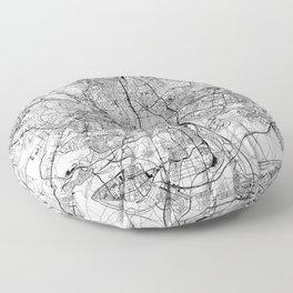 Madrid White Map Floor Pillow