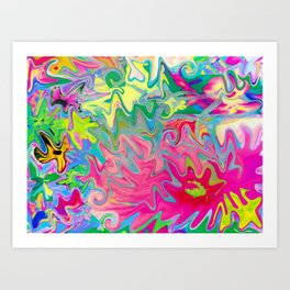 Colorful Flower Garden Abstract Collage Art Art Print