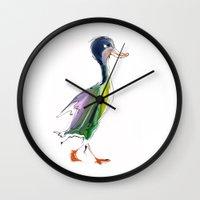 duck Wall Clocks featuring duck by tatiana-teni