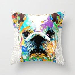 Bright Colorful Bulldog Art by Sharon Cummings Throw Pillow