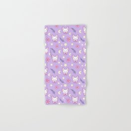 Sakura Cat // Purple Hand & Bath Towel