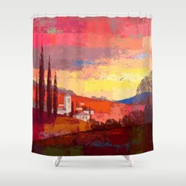 French Countryside Sunset Shower Curtain