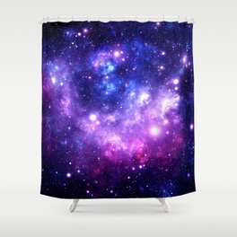 Purple Blue Galaxy Nebula Shower Curtain