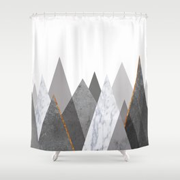 Marble Gray Copper Black And White Mountains Shower Curtain