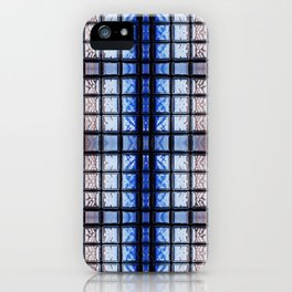 Blue toned glass bricks window abstract iPhone Case