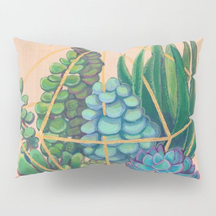 Geometric Terrarium 1 Acrylic on Wood Painting Pillow Sham