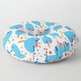 Flower Cups Blue Floor Pillow
