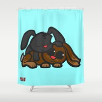 cuddle Shower Curtains featuring Cuddle Bunnies by Sylvester Pyke