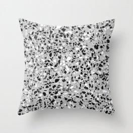 Black White Grey Monochrome Terrazzo Pattern Stone Speckles Effect Throw Pillow