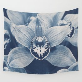 Iris in Blue Wall Tapestry