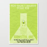 monster inc Canvas Prints featuring MONSTER INC. by Vloh