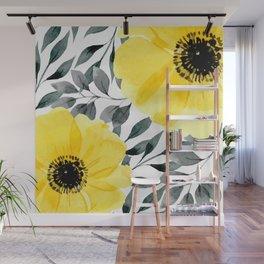 Big yellow watercolor flowers Wall Mural