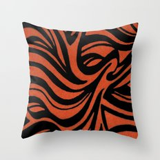 Orange & Black Waves Throw Pillow