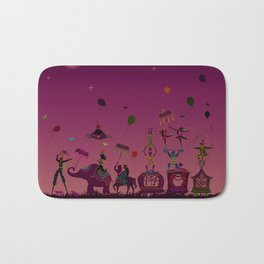 colorful circus carnival traveling in one row at night Bath Mat