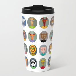Set of animals faces circle icons set in Trendy Flat Style. zoo Travel Mug