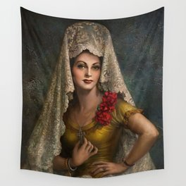 Spanish Beauty with Lace Mantilla and Comb by Jesus Helguera Wall Tapestry