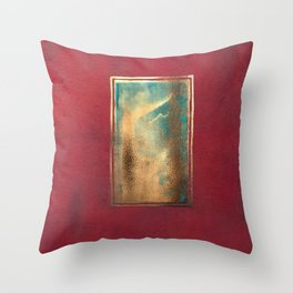 Deep Red, Gold, Turquoise Blue Throw Pillow