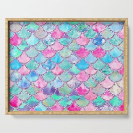 Colorful Pink and Blue Watercolor Trendy Glitter Mermaid Scales  Serving Tray