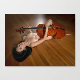 0149-JC Nude Cellist with Her Cello and Bow Naked Young Woman Musician Art Sexy Erotic Sweet Sensual Canvas Print