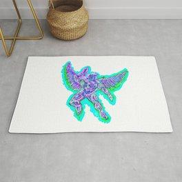 Cybernetic Neon Angel Rug