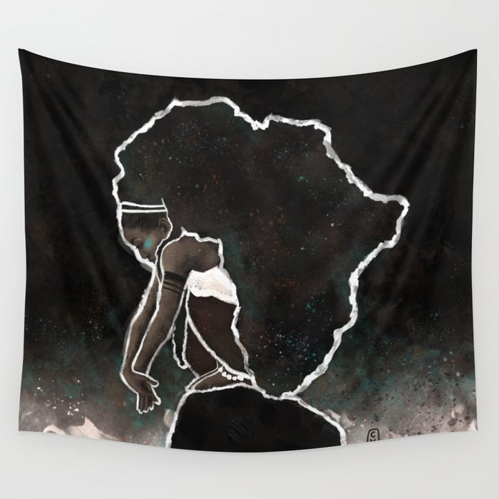 Africa Thinking Wall Tapestry