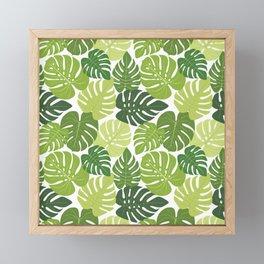 Monstera Leaves Pattern (white background) Framed Mini Art Print