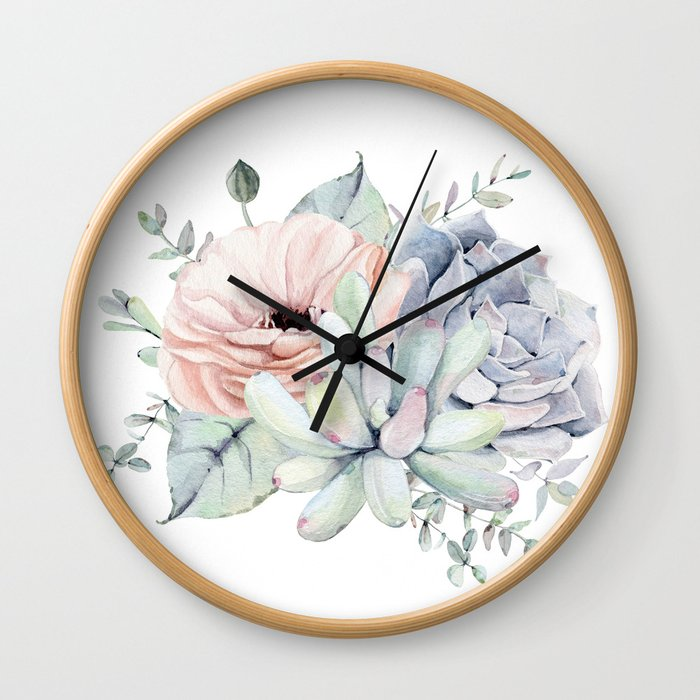 Pretty Succulents by Nature Magick Wall Clock