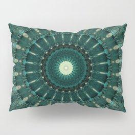 Malachite green mandala Pillow Sham