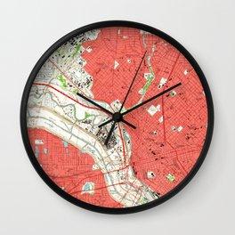 Vintage Map of Dallas Texas (1958) 2 Wall Clock
