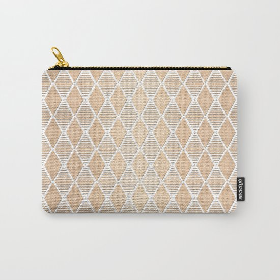 White and Copper Geometric Pattern Carry-All Pouch