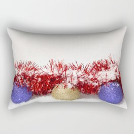 Christmas Baubles Tinsel and Snow Rectangular Pillow