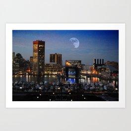 Inner Harbor Moon Rise Art Print