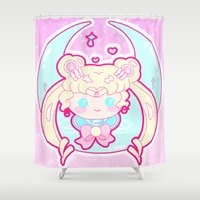 sailormoon Shower Curtains featuring Marshmallow Sailormoon by Candy Castle