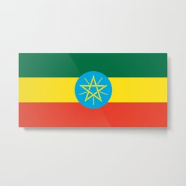 flag of Ethiopia-ኢትዮጵያ, የኢትዮጵያ ,Amharic,  Ethiopian, Addis Ababa. Metal Print