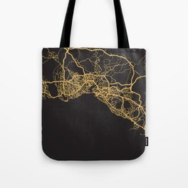 ISTANBUL TURKEY GOLD ON BLACK CITY MAP Tote Bag