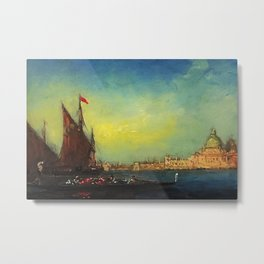 Flower Sellers at Carnival, Venice, Italy nautical landscape painting by Felix Ziem Metal Print