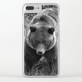 Grizzly Bear - B & W Clear iPhone Case