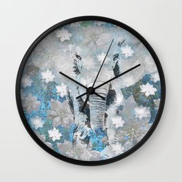 ELEPHANT AND FLOWERS Wall Clock