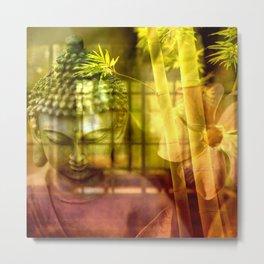 Zen & Spiritual Relaxation - Buddha & Bamboo Metal Print