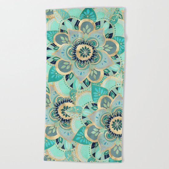 Gilded Emerald Enamel Beach Towel