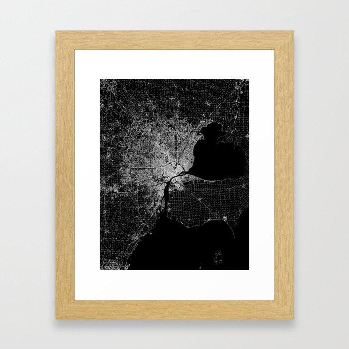 Detroit map  Framed Art Print