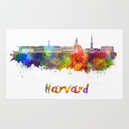 Harvard skyline in watercolor Rug