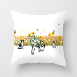 Cats Summer Garden Bike Butterflies Throw Pillow