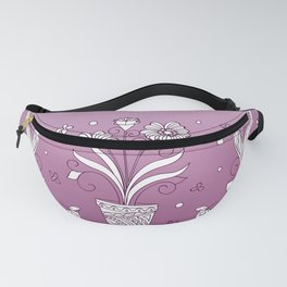 violet contour three zen pots with doodle flowers Fanny Pack