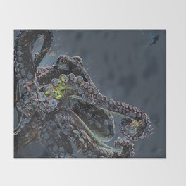 """Release the Kraken"" - Giant Octopus Digital Illustration Throw Blanket"