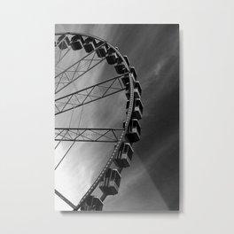 Ferris Wheel Amsterdam Kermis Black and White Metal Print