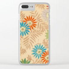 Japanese Vintage Flowers Pattern Clear iPhone Case