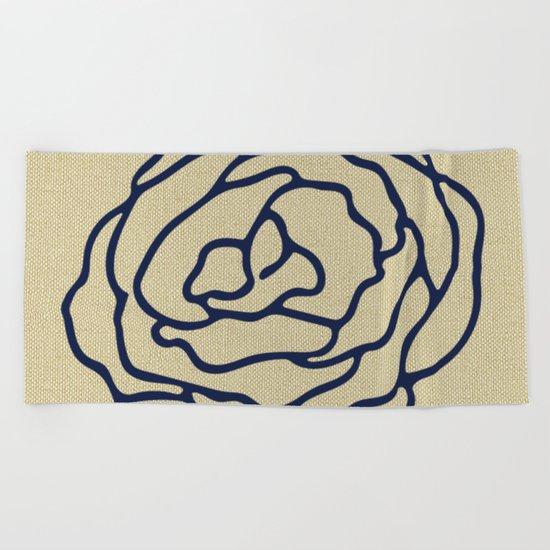 Rose Nautical Navy Blue on Linen Beach Towel