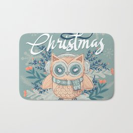 Merry Christmas - Owl Bath Mat